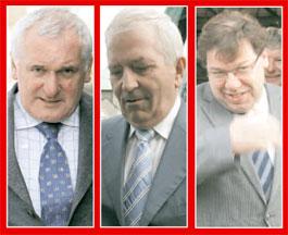 GUILTY: Bertie Ahern, Charlie McCreevy and Brian Cowen