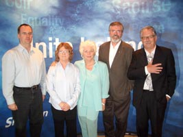 DISTINGUISHED PANEL: Ruán O'Donnell; Rita O Hare; Fionnuala Flanagan; Gerry Adams and Robert Ballagh