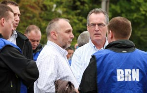 LEADERSHIP: Seán Murray and Gerry Kelly on the Springfield Road last Saturday