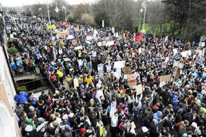 NO FEES: Thousands of third level students from around the country protest against the reintroduction of fees
