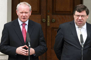 ALL-IRELAND CO-OPERATION VITAL: Martin McGuinness and Brian Cowen after all-Ireland Ministerial Council meeting