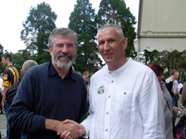KILDARE CUMANN: Gerry Adams and Séan Downey at the recent Wolfe Tone Commemoration in Bodenstown