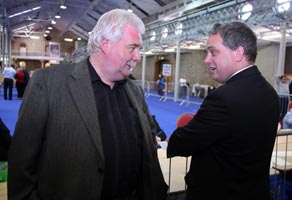 TAKING STOCK: Larry with Aengus Ó Snodaigh at the count
