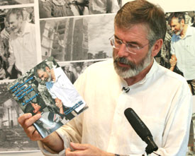 GAZA: Gerry  Adams  at the launch of his report in June