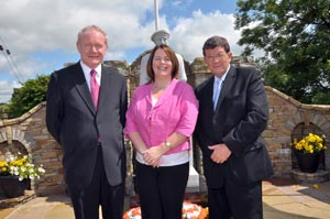 CALLING FOR A BIG MOBILISATION: Martin McGuinness, Michelle Gildernew and Pat Doherty