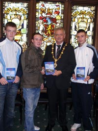 BOOK LAUNCH: Paul Fleming joined members of Ógra Shinn Féin at the launch of a commemorative book to mark the 100th Anniversary of Fianna Éireann