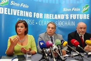 NO TO LISBON: Mary Lou McDonald, Aengus Ó Snodaigh and Caoimhghín Ó Caoláin at the Sinn Féin campaign launch