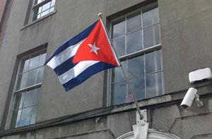 The Cuban flag flying outside An Phoblacht's Dublin office as a mark of respect