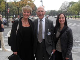 PARIS: Sinn Féin's Martina Anderson MLA and Head of Policy Shannonbrooke Murphy with Stephane Hessel, former assistant to Rene Cassin in the drafting of the Universal Declaration of Human Rights