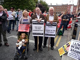 NO TO NAMA: Dublin City Sinn Féin Councillors Críona Ní Dhálaigh, Dessie Ellis and Larry O'Toole