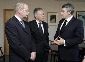 CRITICAL TALKS: Martin McGuinness, Peter Robinson and Gordon Brown
