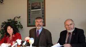 Jennifer McCann, Gerry Adams and Francie Molloy at Sinn Féin Truth Recovery Press Conference