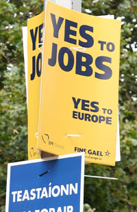 PROMISES:  Fine Gael's 'Yes to jobs' poster