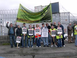 Sinn Féin activists supporting the Dublin Dockers