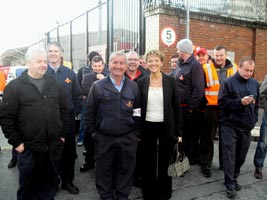 Martina Anderson with striking postal workers