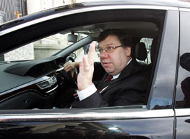 Brian Cowen nestling in a new S-Class Mercedes