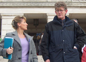 Jon McCourt pictured with Martina Anderson MLA prior to the Assembly debate on abuse within institutions in the North