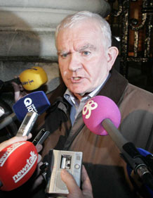 IMPACT General Secretary Peter McLoone speaking to reporters at Government Buildings