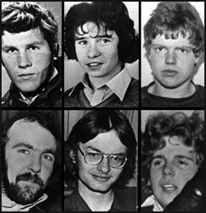 SHOOT-TO-KILL VICTIMS: (clockwise from top left) Seamus Grew, Roddy Carroll, Michael Tighe. Eugene Toman, Seán Burns and Gervaise McKerr