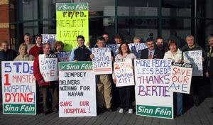 A Sinn Féin protest at Our Lady's Hospital, Navan in 2006