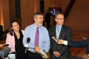 Michelle Gildernew, Gerry Adams and Gerry Kelly in Stormont