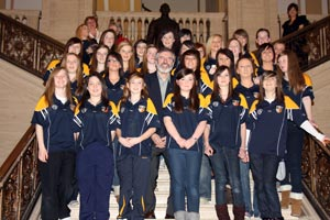 Sinn Féin president and West Belfast MP Gerry Adams MLA hosted a visit by the Antrim ladies junior football panel at Stormont last Friday following the team's successful year.