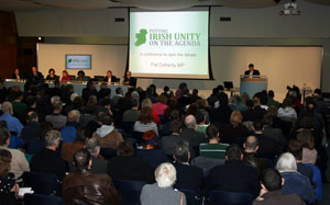 Pat Doherty addressing the conference