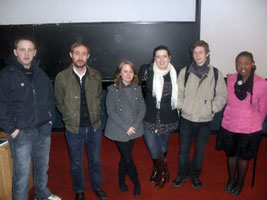 Dublin Sinn Féin Chairperson Eoin O'Broin (second left) with some of the students