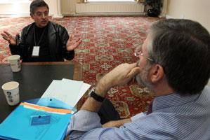 Dr As'ad Abdul Rahman talking to Sinn Féin President Gerry Adams