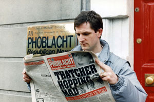 Dermot Finucane reading An Phoblacht