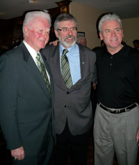 Gerry Adams with Terry O'Sullivan, General President of LIUNA – the Laborers' International Union of North America and his father, Terry Snr