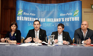 Sinn Féin's Kathleen Funchion, Pearse Doherty, Matt Carthy and Cathal King at a press conference for Solutions to Youth Unemployment