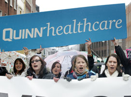 Quinn Insurance workers who turned out to protest at Leinster House
