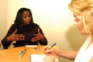 Salome Mbugua talks with Ella O'Dwyer