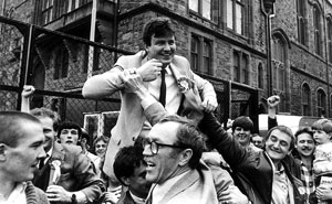 Gerry Doherty on the shoulders of his supporters after being elected to Derry Council in 1985