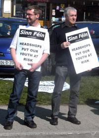 Eoin Ó Broin and Tommy Grant of Clondalkin Sinn Féin protest outside Green Dayz headshop