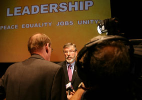 Sinn Féin President Gerry Adams talking to the press at the manifesto launch on Wednesday