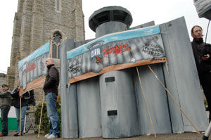 Mock-up of Apartheid Wall outside the AGM in Dun Laoghaire of Cement Roadstone Holdings