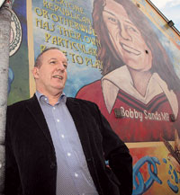 Bobby Storey pictured at the Bobby Sands mural on the Falls Road, Belfast