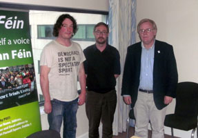 Sinn Féin's Cathal Ó Murchu and Eoin Ó Broin with Unite economist Michael Taft at the Green Isle Jobs meeting