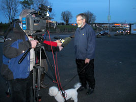 Gerry Adams speaking to the media following the resignation of Gordon Brown