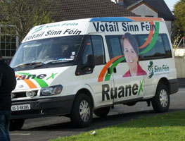 PIT STOP:  The Caitríona Ruane bus gets ready to roll