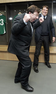BRIAN COWEN: No championship performance on the economy, even though he seems pleased at the opening of the new Aviva Stadium in Landsdowne this week