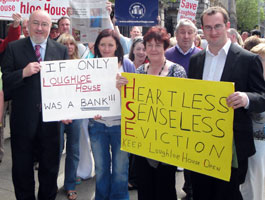 Caoimhghín Ó Caoláin joined protesters at Leinster House over the closure of Loughloe Nursing Home on Wednesday